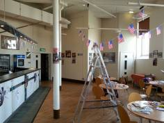 Decorating the Darwen Foyer for American Servicemen