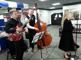 Silvermoon Jazz entertaining shoppers at Darwen Markets